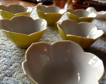 Yellow Dessert Bowls Porcelain Scalloped Bowls six 2 x 3 Ice Cream Footed dish