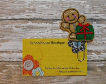Gingerbread Man with Present felt paperclip bookmark, felt bookmark, paperclip bookmark, feltie paperclip, christmas gift, teacher gift