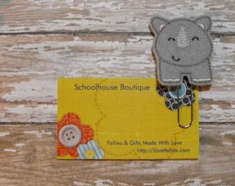 Gray Rhino felt paperclip bookmark, felt bookmark, paperclip bookmark, feltie paperclip, christmas gift, teacher gift