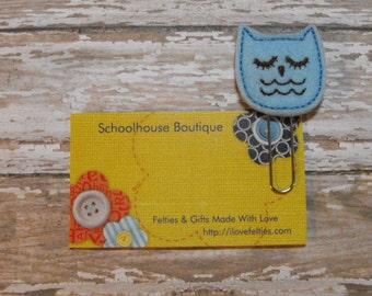 Blue Sleepy Owl felt paperclip bookmark, felt bookmark, paperclip bookmark, feltie paperclip, christmas gift, teacher gift