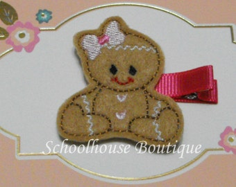 Sitting Gingerbread Girl Felt Hair Clips, Stocking Stuffer, feltie hair clip, party favor, felt hair clip, felt clippie