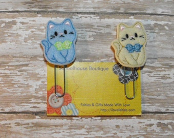 Set of 2 Boy Kitty Cat felt Paperclip bookmark, felt bookmark, paperclip bookmark, feltie paperclip, christmas gift, teacher gift