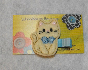 Kitty Cat with Blue Bow Felt Hair Clips, Felties, Feltie Hair Clip, Felt Hairbow, Felt Hair Clip, Felt Hair Clippie, Party Favor