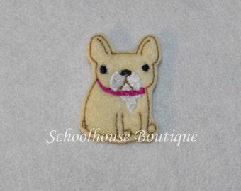 French Bulldog felties, felt paper clip, badge reel, felt brooch, felt bookmark, planner clip, felt hair clip, key chain