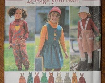 Design your own, children's jumper or pantsuit, UNCUT Simplicity 9722, Sizes 5,6, 6X, craft supplies