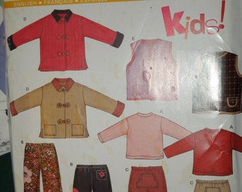 Simplicity New Look 6314, UNCUT sewing pattern, childrens, boys, girls, sizes: 3-8, stretch knits, pants, top, vest, jacket