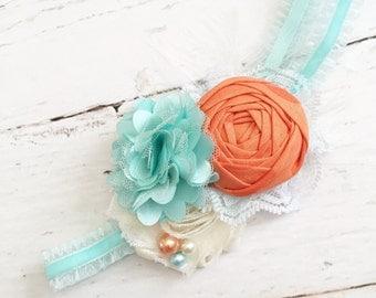 orange ivory aqua headband-lace satin chiffon ruffle headband