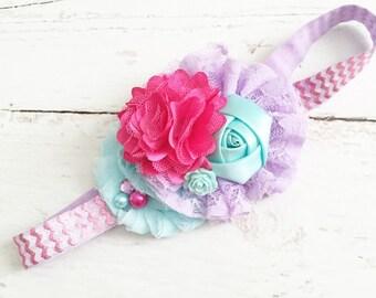 Aqua pink lavender headband-chiffon lace satin metallic headband