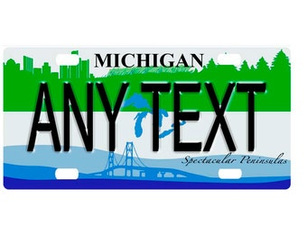 Custom, personalized state license plate - Michigan 2007 - Add Any Text - free shipping