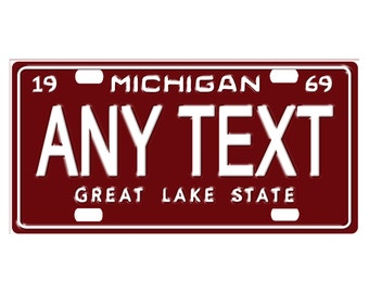 Custom, personalized state license plate - Michigan 1969 - Add Any Text - free shipping