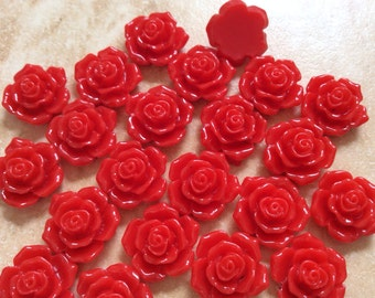 10 pcs 16 mm Cabochon Flowers,Red,Red Rose,16 mm red rose resin flower,Red rose cabochon,crimson rose flower,assorted flower,flower kit