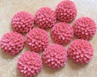 8 pcs 15 mm Cabochon Flowers,Deep pink,Chrysanthemum,deep pink cabochon flower,thistle chrysanthemum,deep pink  resin flower,deep pink mum