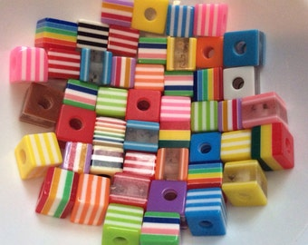 50 pcs 10 mm Striped and Beads,mixed Striped Bead,mixed cube Bead,mixed acrylic bead,mixed Resin Bead,Colorful Bead,mixed bead,resin bead