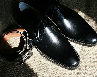 Wedding or formal set of the black derby shoes and belt