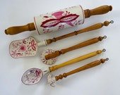 Antique Meissen Pink Blue Onion Rolling Pin, Baking Utensils, Pastry Cutter, Slotted Spatula, Cooking Spoon, Egg Whip, Maple Handles