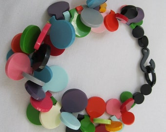 French Designed Resin Disk Necklace In Pastel Colors Bu Marion Godart
