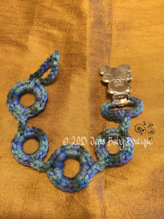 Crochet pacifier holder with bear clasp Ready to Ship Multi