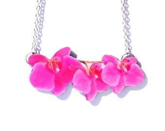 Orchid Necklace, Pink Orchid Necklace, Pink necklace, Pink pendant, Flower necklace, Pink flower, Pink accessories,