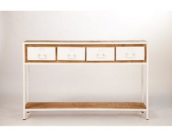 Metal and wood 4 drawers console