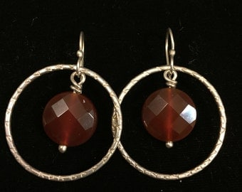 Hoops with large faceted carnelian