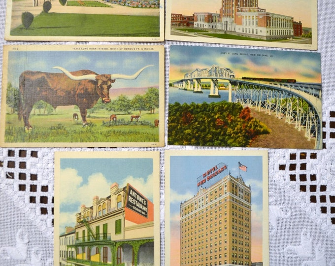 Vintage Postcard Set of 6 Texas Louisiana VariousTravel Souvenirs PanchosPorch