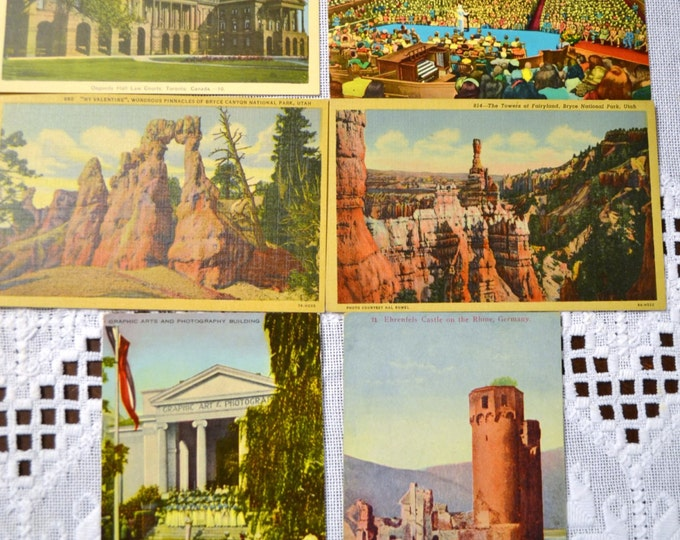 Vintage Postcard Set of 6 Germany Utah Canada Tennessee Various Travel Souvenirs PanchosPorch