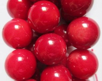 "Red Coral Beads - Round 10 mm Gemstone Beads - Full Strand 16"", 39 beads"