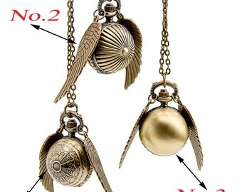 HOT Flying Ball pocket watch necklace pendant, watch necklace, steam punk necklace pendants, sphere watch with wings
