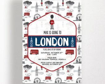 London Invitation England Perfect For Farewell Party Wedding Immigration Party Printable Email Digital Big Ben Bus Guard The Eye