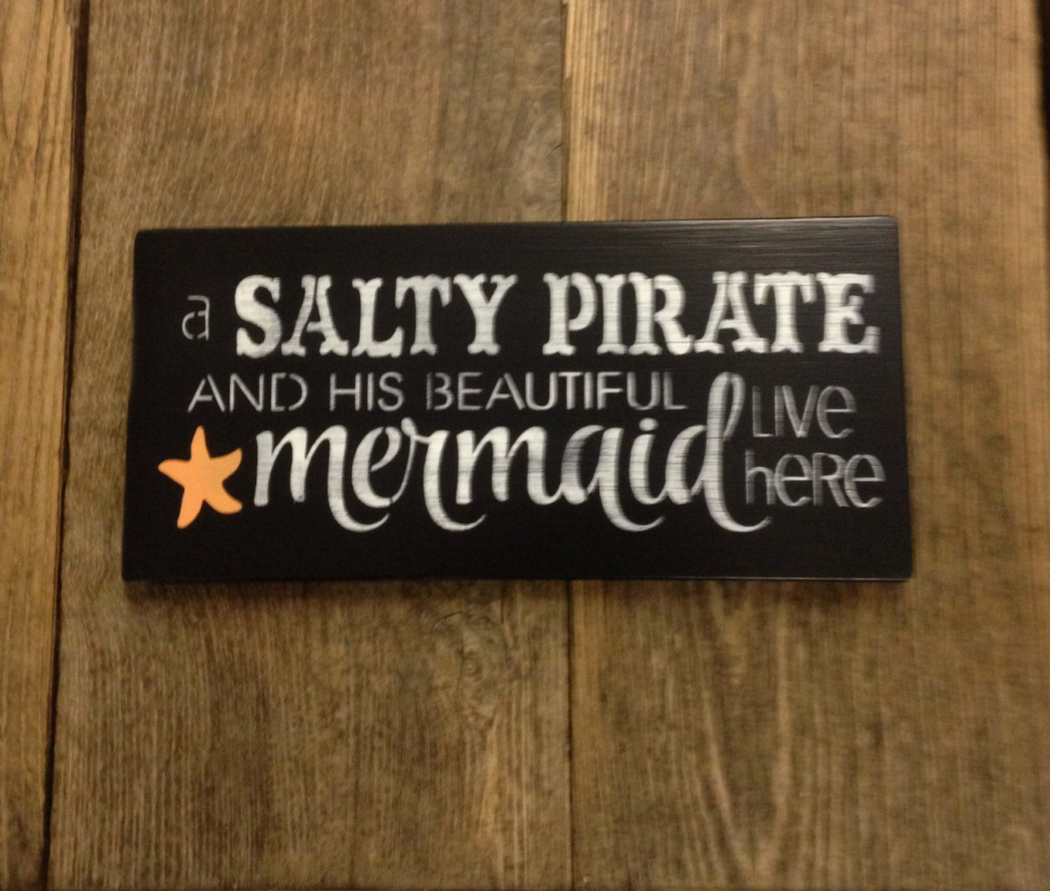 Salty pirate mermaid sign wooden beach decor sign by farmhouse896