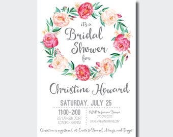 Bridal Shower Invitation | Floral Baby Shower Invite | Boho Bridal Shower