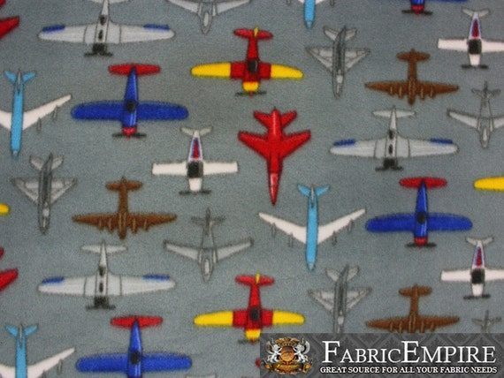 Fleece printed fabric tossed aircraft 58 wide by for Airplane fabric by the yard