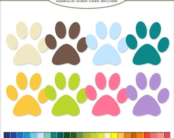 50 rainbow colors Paw Print cliparts, pet Clip Art. Dog / Cat paws print Scrapbook illustration, Printable, Commercial Use. PNG