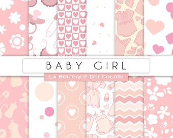 New baby digital paper digital paper. Pink baby girl digital paper pack. Newborn backgrounds, commercial use Pink dots, baby clothes