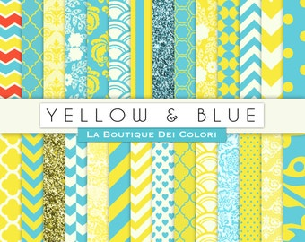 Yellow and blue Digital Paper. Digital blue and yellow  paper, scrapbook paper patterns, Instant Download for Commercial Use