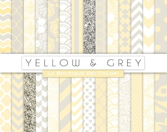 Nursery digital paper digital paper. yellow and gray baby digital paper Newborn backgrounds, commercial use. stripes, chevron, dots