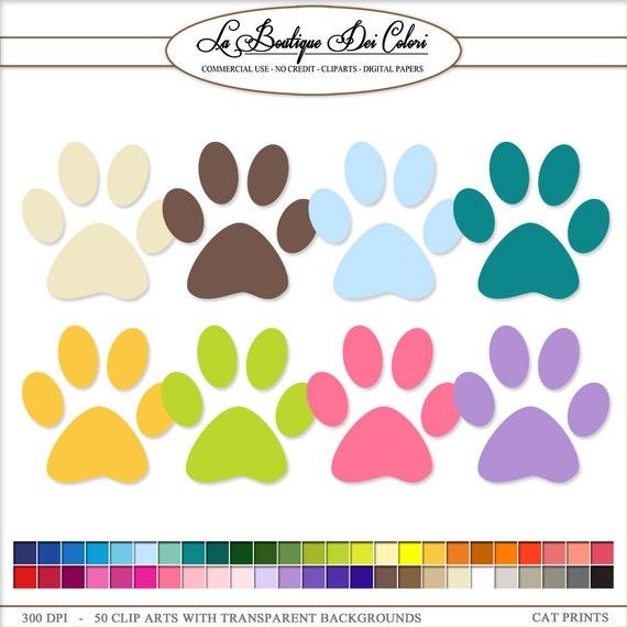 50 rainbow colors Paw Print cliparts pet Clip Art. Dog / Cat