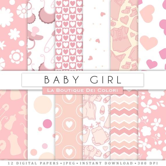 New baby digital paper digital paper. Pink baby girl digital