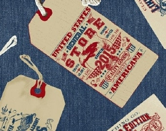 Limited Edition Tags (Blue) by Whistler Studios for Windham Fabrics, 1/2 yard, 40706-1