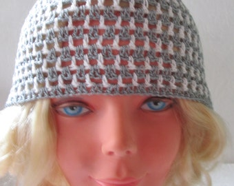 summer  hat, white gray striped beanie, summer  hat, Crocheted Summer Hat, sun hat, women hat, Hand Crocheted Hat Womens Hat