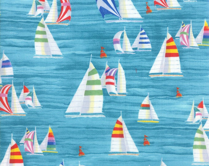 One Yard Coastal Breeze - Sailboats in Aqua Blue - Cotton Quilt Fabric - by Paul Brent for Moda Fabrics 39021-13 (W2723)