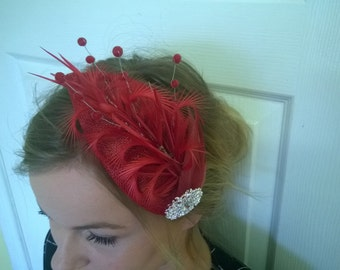 Coral red and silver fascinator