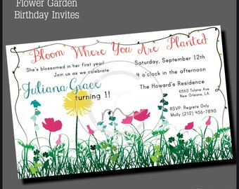 Printable Customizable Flower Garden Themed Birthday Party Invitation