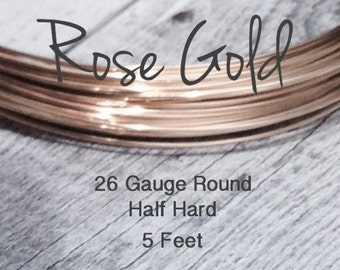 15% Off SALE!! 14K ROSE Gold Filled Wire, 26 Gauge, 5 Feet WHOLESALE, Round, Half Hard