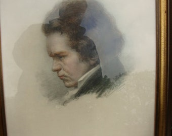 Lithograph Ludwig van Beethoven by Max Wulff 1912