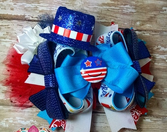 Patriotic OTT Hair Bow - Photos - Girls - Baby Girl