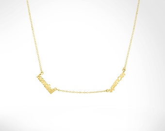 Mini Nameplate Necklace With Two Names (np3mini) gpss