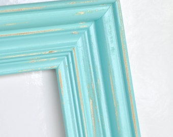 mint green light aqua blue 10 x 13 open wood frame gallery wall frames repainted frames salvaged frames wedding decor beach house