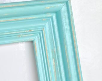 mint green light aqua blue 10 x 13 open wood frame gallery wall frames repainted frames salvaged frames wedding decor beach house