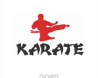 Filled Embroidery 'Karate' Inscription Embroidery Design INSTANT DOWNLOAD